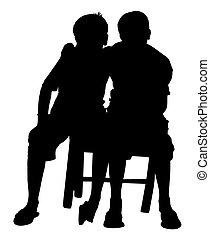 Two Kids Friends Shape