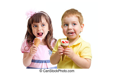Two kids girl and boy eating ice cream isolated on white