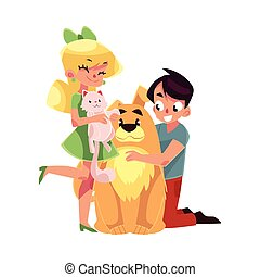 Two kids - girl holding cat, kitten, boy hugging big dog