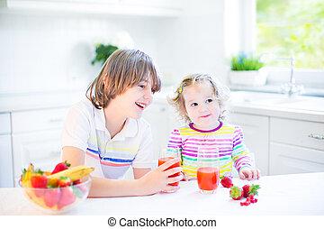 Two kids having breakfast