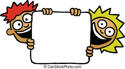 Two kids holding a board