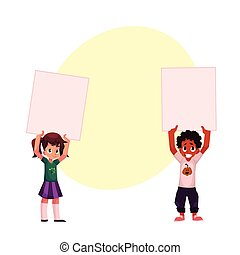 Two kids holding blank empty posters, boards over head