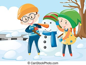 Two kids hugging snowman