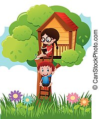 Two kids in reading book in treehouse