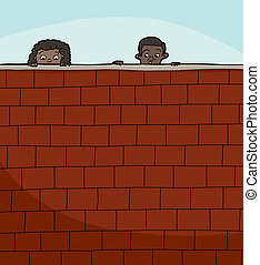 Two Kids Looking Over Wall