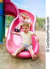 Two Kids on Slide