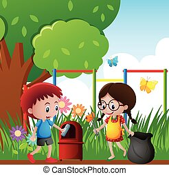 Two kids picking up trash in the park