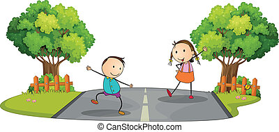 Two kids playing at the street
