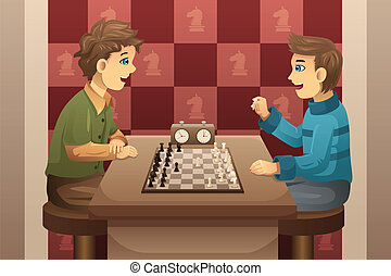 Two kids playing chess - A vector illustration of cute happy...