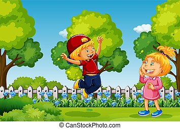 Two kids playing in park