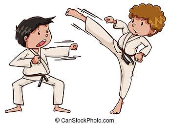 Two kids playing karate