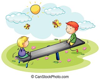 Two kids playing on seesaw in the park
