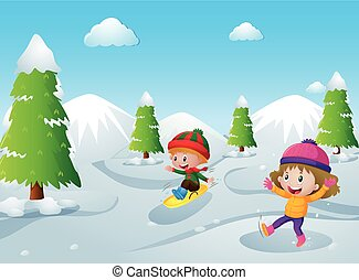 Two kids playing with snow