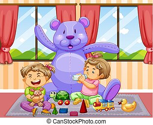 Two kids playing with toys in room