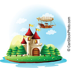 Two kids riding in an aircraft above the castle -...