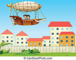 Two kids riding in an aircraft above the village -...