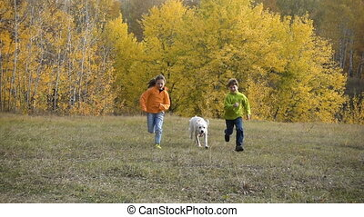 Two kids running with golden retriever at field