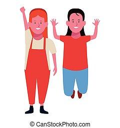 Two kids smiling cartoons