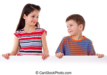 Two kids standing with empty blank