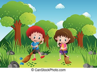 Two kids sweeping leaves in the park