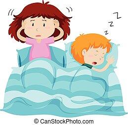 Two kids under blanket