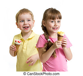 two kids with cone ice cream isolated on white
