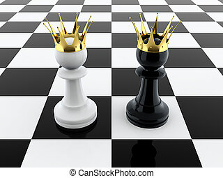 Two kings - 3D render of black and white pawn kings on...