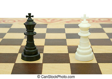Two kings on chessboard (tie), isolated on white background