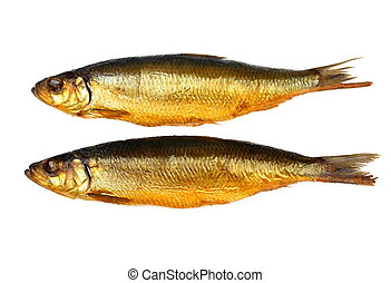 Two kippers, smoked herring on white background, top view