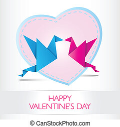 Two kissing origami birds. Love card concept Happy Valentines Day and heart shape