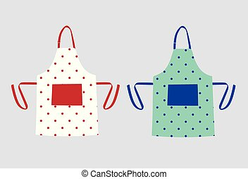 Two kitchen aprons with polka dot patterns
