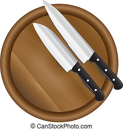 Two kitchen knives on a round cutting board. Vector...