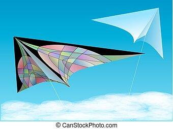 kites in blue sky