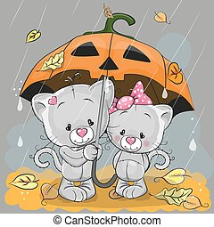 Two kittens - Halloween card Two cute cartoon kittens with ...