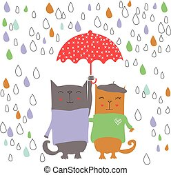 Two kittens on a rainy day