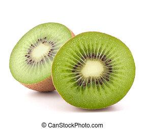 Two kiwi fruit sliced halves isolated on white background...