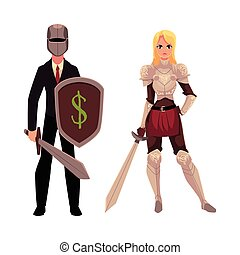 Two knights - modern businessman warrior and medieval armored woman