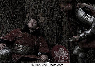 Two knights near the tree - One soldier sleeping and the...