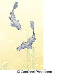 two koi carps