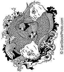 two koi fishes black white