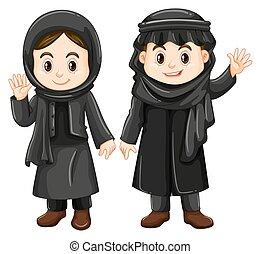 Two Kuwait kids in black costume