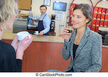 Two ladies in cafe