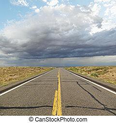 Two lane highway.