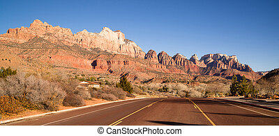 Two Lane Road Hoighway Travels Desert Southwest Utah Landscape
