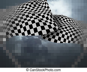 Two large Checkered Flag  made in 3d software