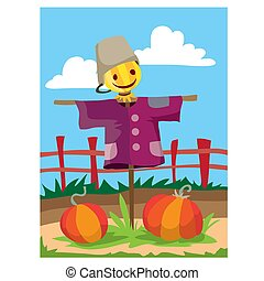 two large pumpkins ripe in the garden in the fall and they are guarded by a scarecrow, the garden is fenced with a fence, cartoon illustration, vector,