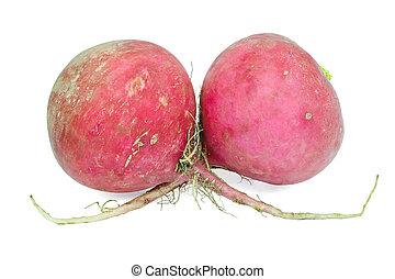 Two large radishes on a white background