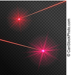 Two laser beams - Bright red laser rays on a transparent ...