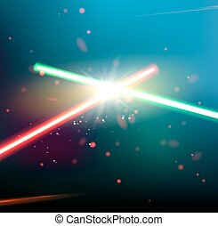 Two laser rays. - Two laser rays are crossed over dark space...