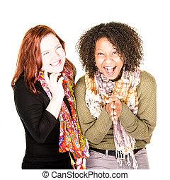 Two Laughing Beautiful Women